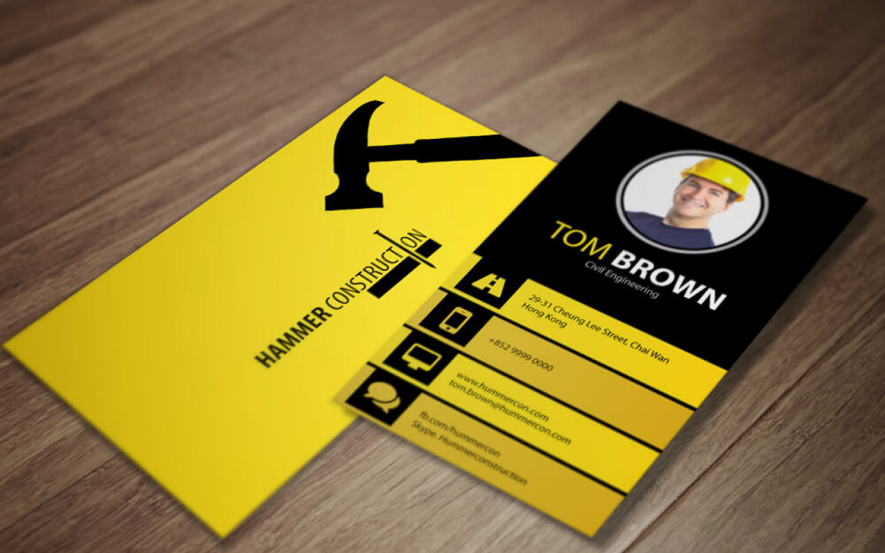 Hummer Construction – Civil Engineering Business Card – Double Infinity