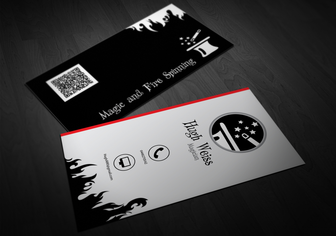 Magic and fire spinning magician business card double infinity business cards and corporate identity colourmoves Gallery