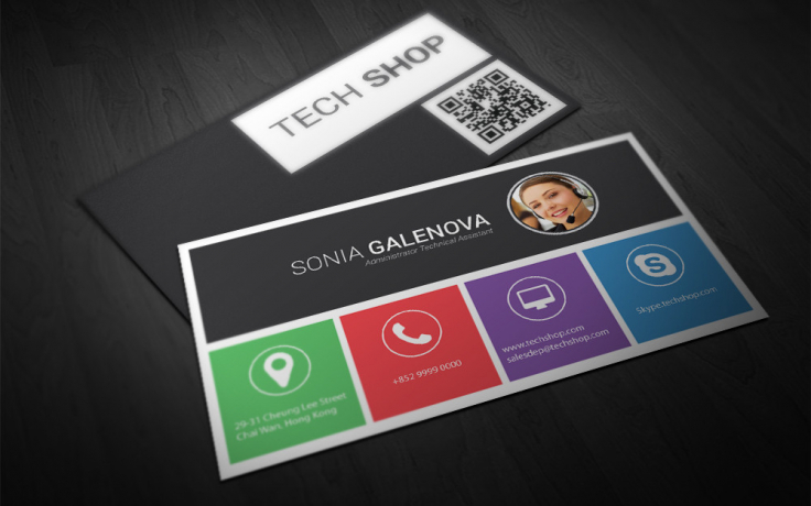 Tech shop technical asistant business card double infinity business cards and corporate identity colourmoves